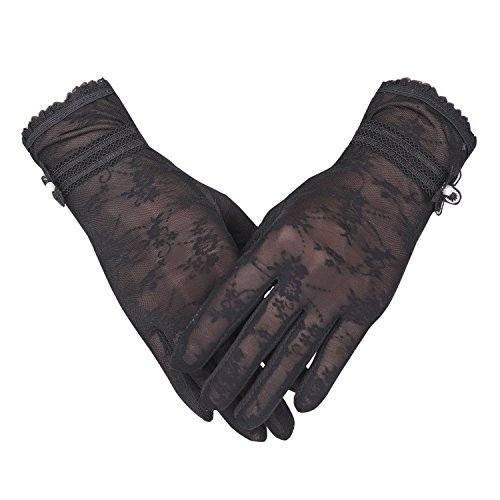 (Women's UV Protection Sun Driving Gloves Lace Touch Screen Non-Skid)