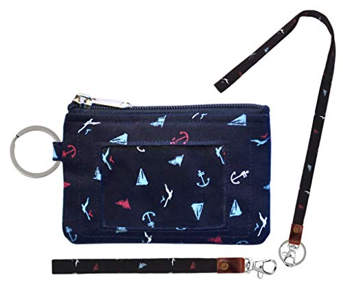 Zip ID Case, Lanyard & Wrist-let/Key Wallet/Credit Card Case Coins Purse with ID Window, Lanyard & Wrist-let/Cute ID Holder/Badge Clips (Black Triangle) ()