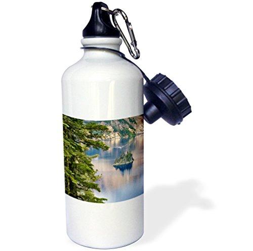 3dRose wb_94037_1 ''Oregon, Crater Lake NP. Phantom Ship US38 RER0208 Ric Ergenbright'' Sports Water Bottle, 21 oz, White by 3dRose