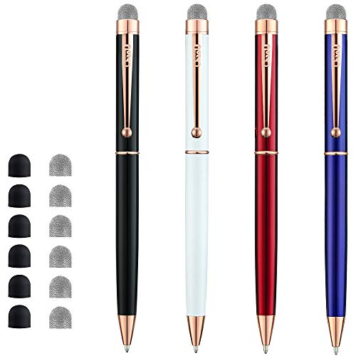 CHAOQ Stylus Pen, [4 Pcs, Rose Gold Clip] Mesh Fiber Tip Stylus for All Capacitive Touch Screens Cell Phones, iPad, Tablets, Ball Pen Black Ink with 6 Extras Replacement Mesh Tips and 6 Rubber Tips