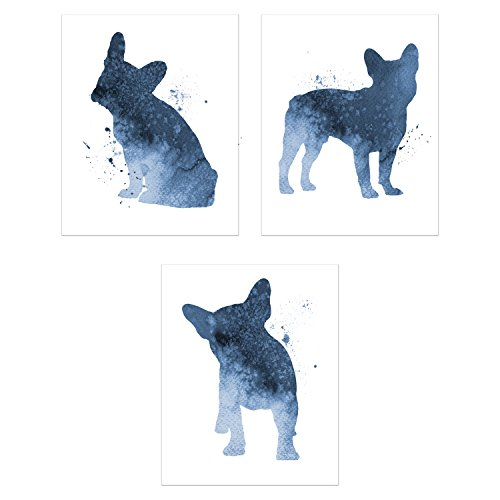 French Bulldog Wall Art Decor - Set of 3 Prints (8x10) - Poster Photos - Puppy Dog Watercolor