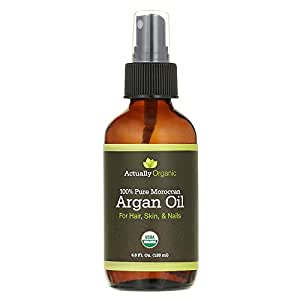 ActuallyOrganic Argan Oil Hair Face Skin Nails Beard-NOT SYNTHETIC-NO BAD SMELL- 100% Pure USDA Organic-Lab Tested for Purity-Silky Smooth Hair-Softer Skin-Anti Aging-Cold Pressed Unrefined Virgin