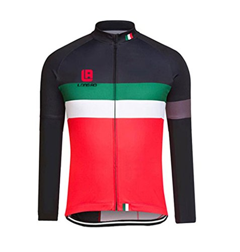 Men's Black Red Cycling Long Sleeve Zip Fleece Lined With 4D-Padded Breathable Warm Quick Dry Jersey Suit Cloth Winter Set (Colombia National Costume For Men)