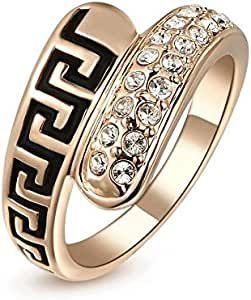 Ring Gold Plate with Crystal for Women,Gold, Size 7, FG121