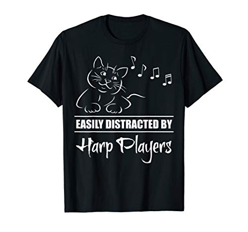 Curious Cat Easily Distracted by Harp Players Fun Whimsical T-Shirt