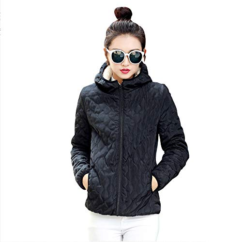 XFentech Outerwear Slim Jacket Jacket Coat Quilted Coat Outdoor Fleece Womens Hooded Black xB4nBqwg1