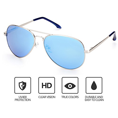 Mens Sunglasses Aviator Polarized Metal Frame Hiking Mirrored Lens Glasses, UV400 (Polarized Aviator Shades)