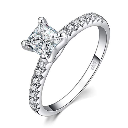 JewelryPalace 1.6ct Princess Cut Cubic Zirconia Promise Wedding Engagement Solitaire Ring 925 Sterling Silver size 7