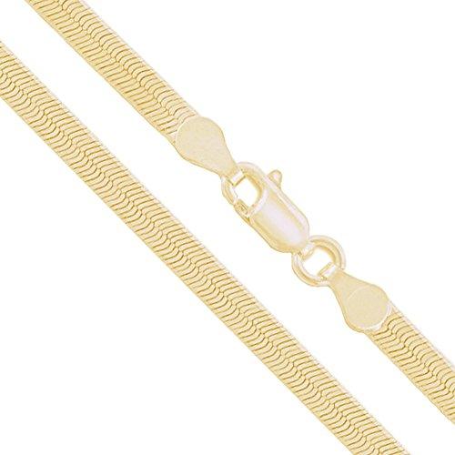 10k Yellow Gold Solid Flat Herringbone Chain 3.85mm Bracelet - Herringbone Anklet