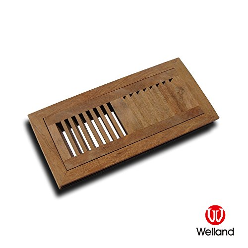 WELLAND 6 Inch x 14 Inch Brazilian Cherry Hardwood Vent Floor Register Flush Mount Unfinished ()