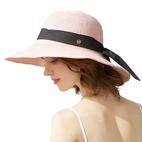 (SOMALER Women Floppy Sun Hat Summer Wide Brim Beach Cap Packable Cotton Straw Hat for Travel)