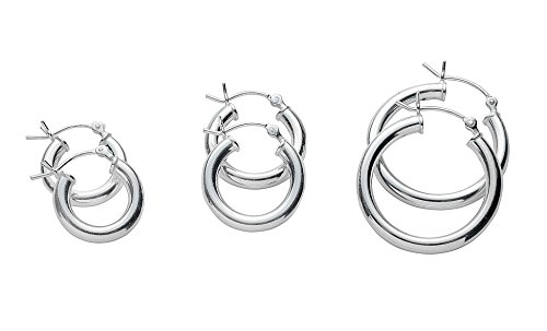 Pair Hoop Earrings Sterling Silver
