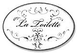 vintage french doors The Stupell Home Décor Collection La Toilette White With Black Scrolls Oval Bathroom Wall Plaque, 10 x 0.5 x 15, Proudly Made in USA - WRP-820