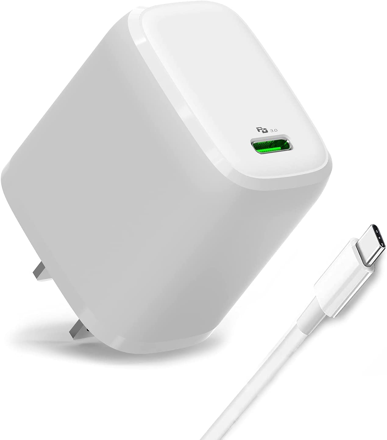 20W USB C Fast Wall Charger Compatible with iPhone 12/12 Pro/12 Pro Max/Mini/iPad Pro 12.9, Pro 11 inch 2020/2018, New Air 4, Google Pixel,6.6ft Type-C to Lightning Charging Cord Included