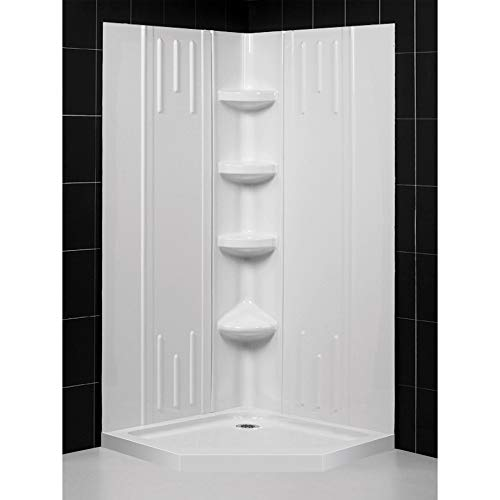 DreamLine 36 in. x 36 in. x 75 5/8 in. H Neo-Angle Shower Base and QWALL-2 Acrylic Corner Backwall Kit in White, DL-6040C-01