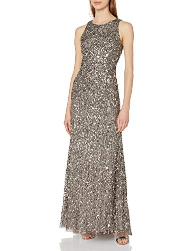 Adrianna Papell Womens Sleevless Beaded Long Halter Gown