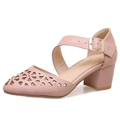 SJJH Casual Sandals with Pointed Toe and Low Chunky Heel Howlled-Out Shoes for All Occassions Pink YKQJV8MM