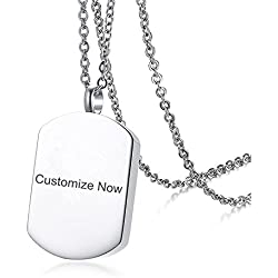 Sunling Custom Free Engraving Stainless Steel Name Date Daughter Son Mom Dad Urns Necklace for Human Pet Ashes Memorial Keepsake Cremation Pendant Jewelry for Women Men,Customizable
