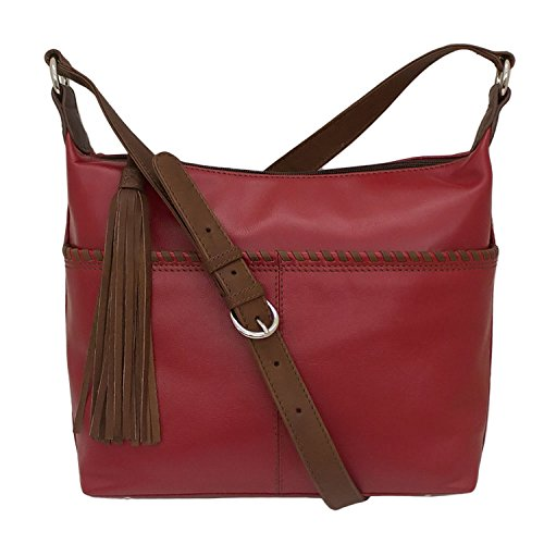 Red Whipstitched Handbag Leather Toffee Hobo q1Oqpc6