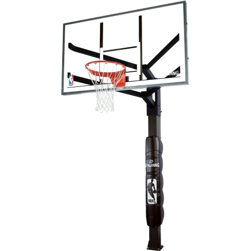 Spalding Arena View In-Ground Basketball System with 60-inch Steel Framed Glass Backboard