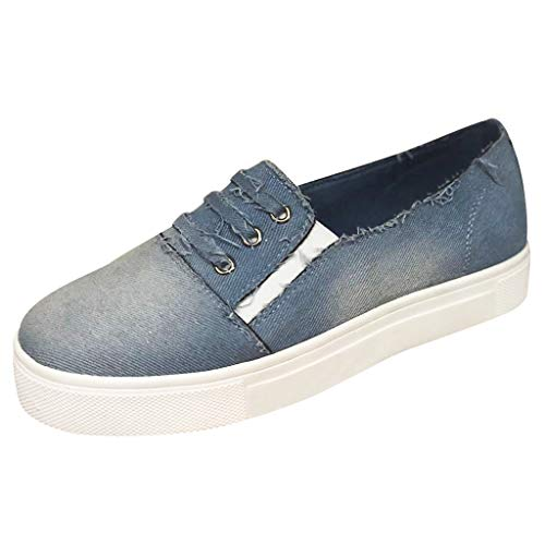 Aniywn Women's Ladies Denim Flat Shoes Casual Canvas Walking Shoes Slip On Sneakers Loafers