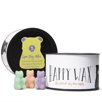 Happy Wax Spa Day Mix, Scented Soy Wax Melts - 3.6 Oz. Wax Melts Variety Tin - Over 80 Hours Burn Time! [Lavender Chamomile, Fresh Bamboo, Eucalyptus - Wax Eucalyptus Soy Scented