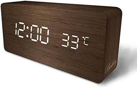 Digital Alarm Clock, Adjustable Cube Timber-Shaped Time Temperature and Sound Control Desk Alarm Clock for Kid, Home, Office, Everyday-Brown