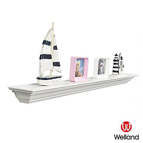 WELLAND Corona Crown Molding Floating Wall Photo Ledge Shelves Fireplace Mantel Shelf (60-Inch, White)