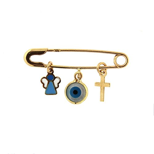 18k Yellow Gold Cross Eye and enamel Angel Safety Pin L 1.20 inch by Amalia
