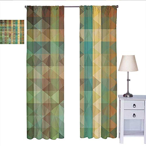 Sage Curtains for bedroo Colorful Vertical Lines with Triangles Abstract Geometrical Mosaic Form Retro Style Curtain Living Room Multicolor W72 x L84