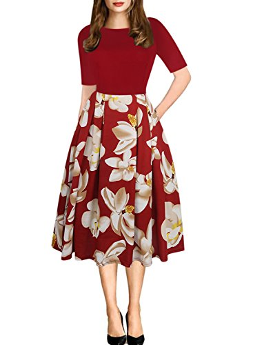 oxiuly Women's Casual Stretchy Pockets Floral A-Line Party Cocktail Dress OX165 (2XL, Burgundy)
