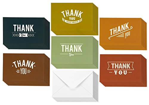 48 Assorted Pack Thank You Note Cards - Bulk Box Set - Blank on the Inside - Vintage Rustic Typeface Design - Includes 48 Greeting Cards and Envelopes - 4 x 6 Inches