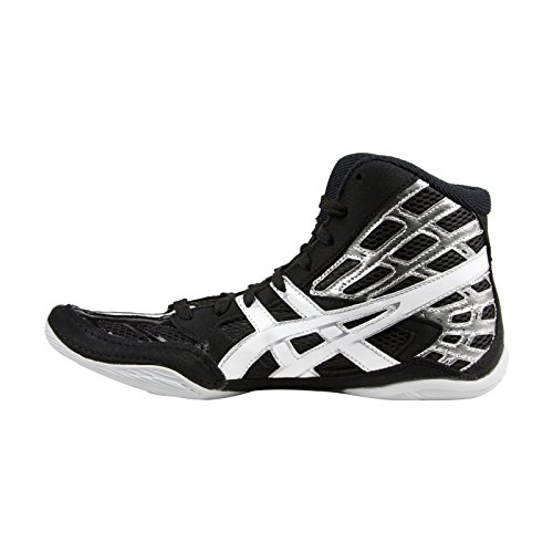 ASICS Men's Split Second 9 Wrestling Shoe,Black/White/Silver,11.5 M US