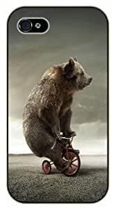 iPhone 5 / 5s Funny Bear riding tricycle - black plastic case / Nature, Animals, Places Series