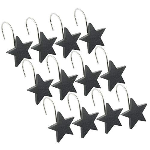 Fenteer Resin Star Curtain Hooks Rings Rustproof Metal Hook Ring for Shower Curtains/Liners, Set of 12 Hooks - Black (Curtain Star Shower Hooks)