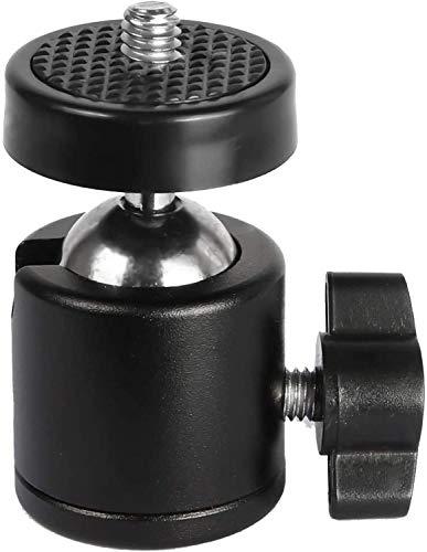 HOJI® 360 Degree Metal Body Rotating Mini Tripod Ball Head with 1/4″ Screw Thread Base Mount for Lighter DSLR Camera Camcorder LED Light Bracket Hiking HTC Vive (Black)