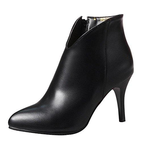 Schwarz ankle Reißverschluss Stiletto Herbst Mee Shoes Boots Damen Sq0FwAx8