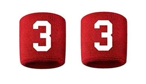 Nfl Wristbands Shop - #3 Embroidered/Stitched Sweatband Wristband RED Sweat Band w/ WHITE Number (2 Pack)