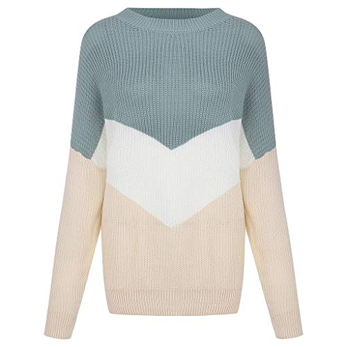 SEXYTOP Women Girl Sweet Contrast Color Stitching Long Sleeve Tops Loose Knit Sweater Fashion Round Neck Pullover S-XL Blue