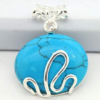 (FidgetKute Vintage 925 Sterling Silver Blue Turquoise Gemstone Fortune Rich Pendant Fashion)