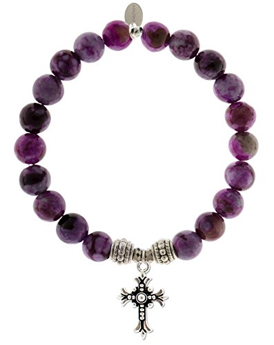 EvaDane Natural Sugilite Gemstone Rope Bead Cross Charm Stretch Bracelet - Size 7 Inch ( 1_SUG_S_R_CRO_7)