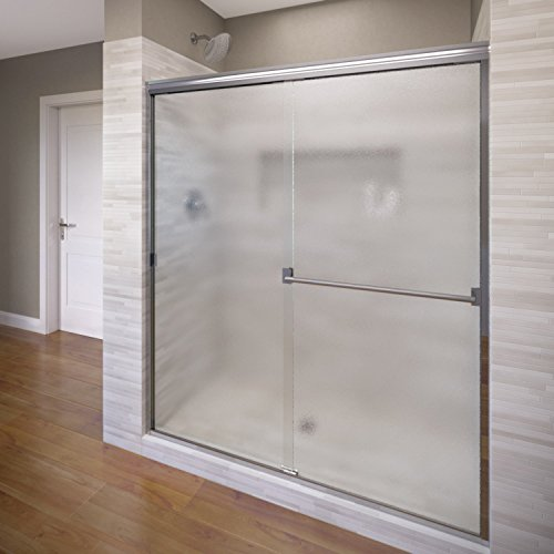 (Basco Classic Semi-Frameless Sliding Shower Door, Fits 56-60 inch opening, Obscure Glass, Silver Finish)