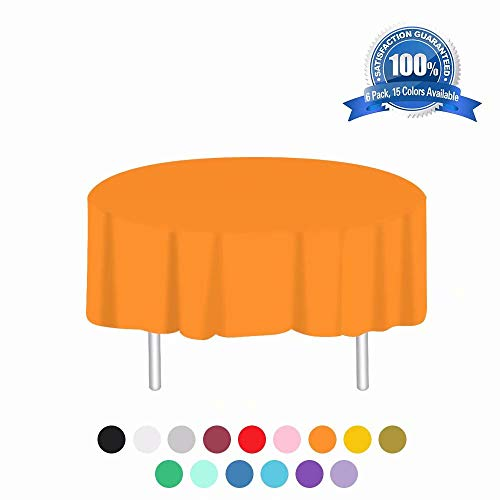 Anborfly Orange Plastic Tablecloth 6 Pack Disposable Round Table Cloths 84in. x 84in. Table Covers for Parties Birthdays Picnic Weddings Christmas Indoor or Outdoor Use (Plastic Orange Round Tablecloth)