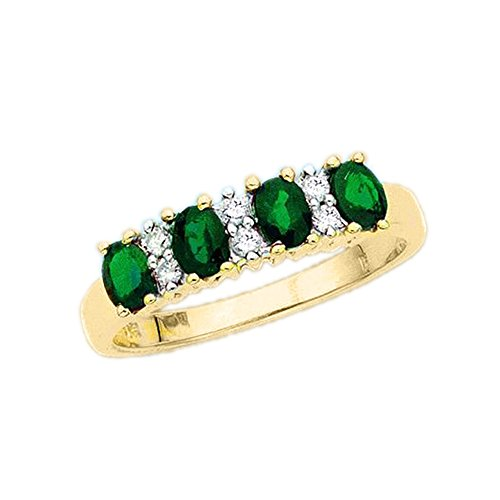 10K-Yellow-Gold-110-ct-Diamond-with-Alternating-34-ct-Emerald-Ring