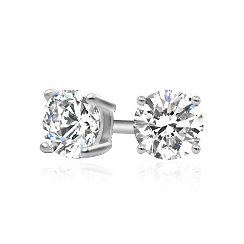 925 Sterling Silver Cubic Zirconia Classic Basket Prong Set Eternity Stud Earrings, 4mm ()