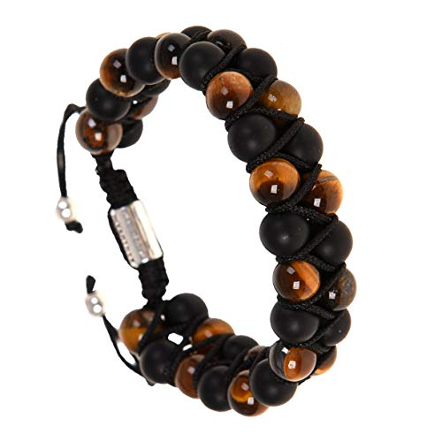 RIVERTREE Tiger Eye & Matte Onyx Natural Stone Bracelet Beads Handmade 2 Layer Braided Adjustable 6.5