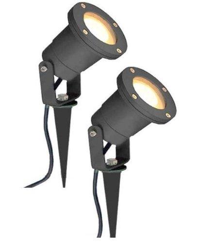 2 x MR16 12V Outdoor Garden Spike Ground Mount or Watt Light IP65 Matt  Black Low Voltage: Amazon.co.uk: Lighting