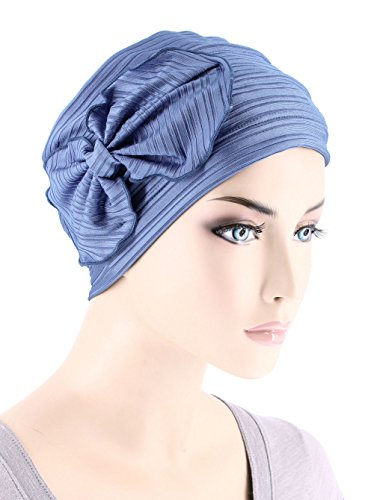 Chemo Fashion Scarf Chemo Summer Hat Ribbed Flower Bow Cloche Beanie Cancer Cap Ribbed Periwinkle Blue