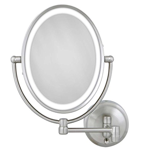 Zadro 10X/1X Next Generation LED Lighted Oval Wall Mount Mirror, Satin Nickel by Zadro