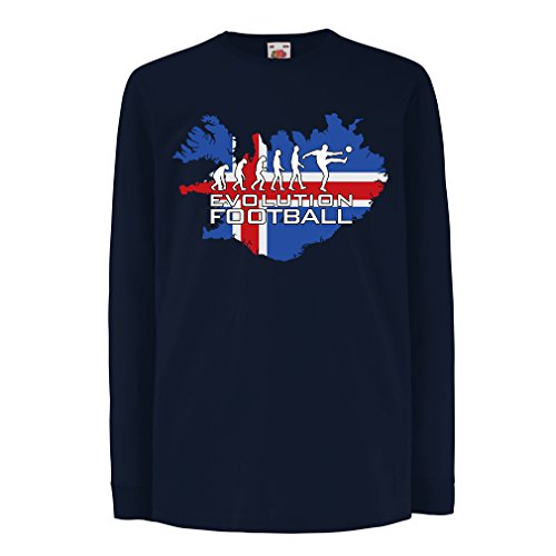 (Kids Boys/Girls T-Shirt 2018 World Cup Russia, The Iceland National Football Team Evolution (14-15 Years Blue Multi)